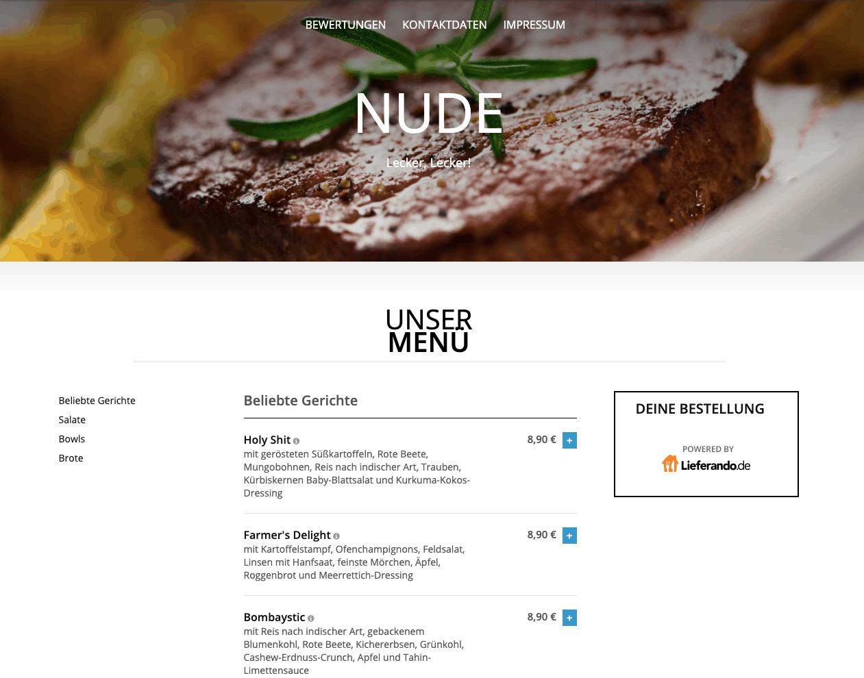 Screenshot Schattenwebsite