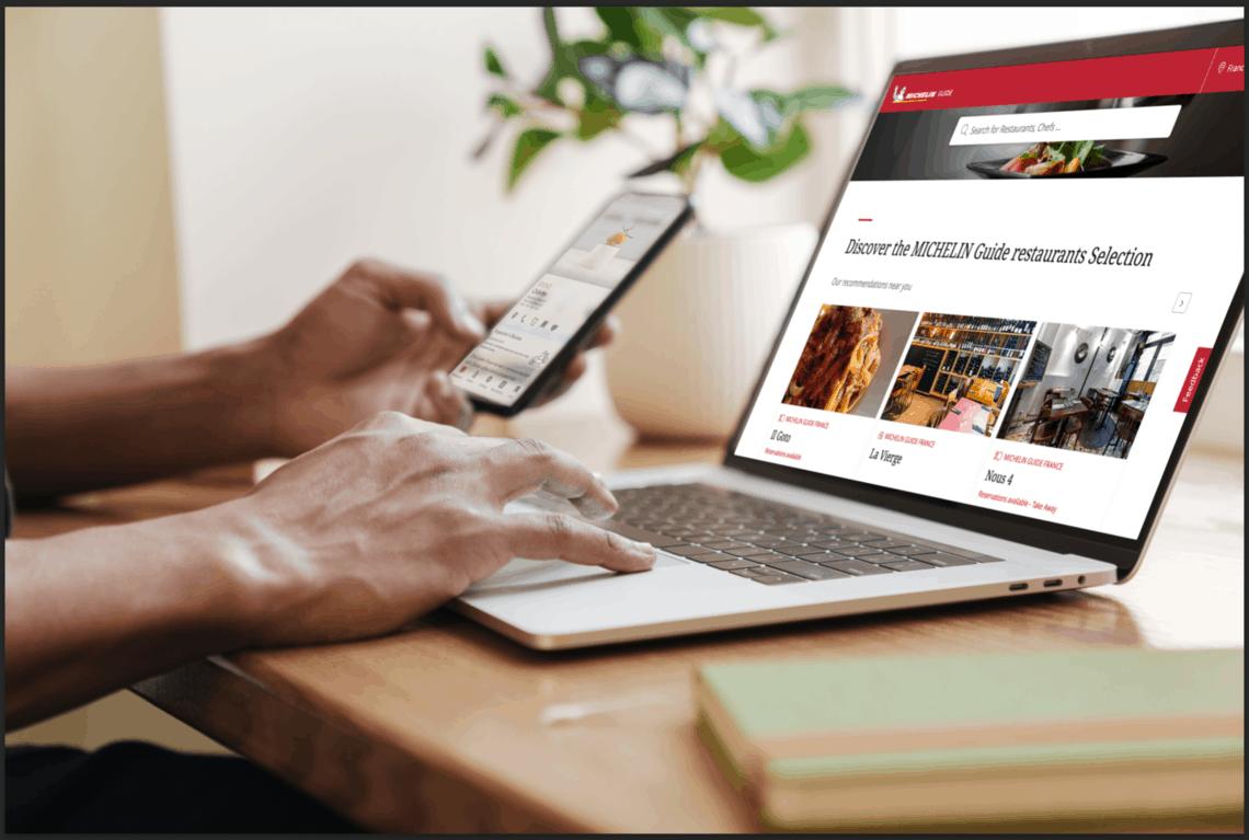 Michelin Guide digital am Laptop und Handy