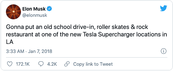 Screenshot von Tweet von Elon Musk